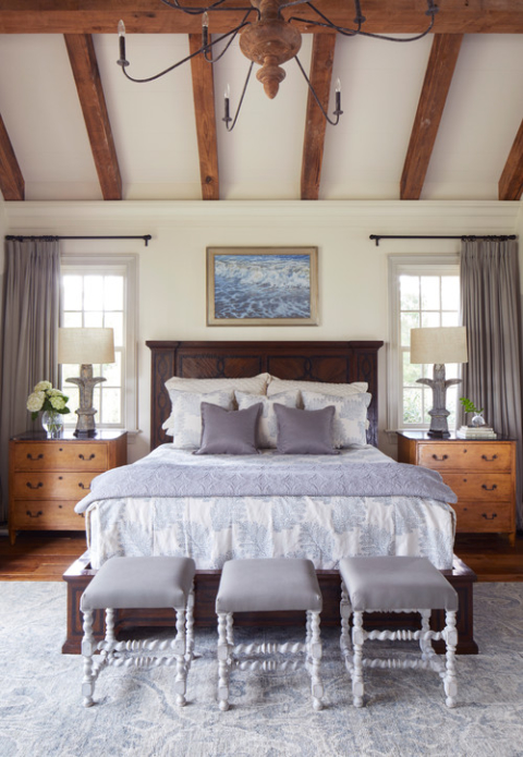 Traditional Bedroom with Vaulted Ceiling and Wooden Beams